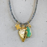 Labradorite Charmed Necklace - Gold Arrowhead and Chrysoprase