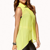 FOREVER 21 Cutout Back High-Low Shirt Lime