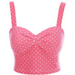 Pink Polka Dot Sleeveless Bustier Cropped Top