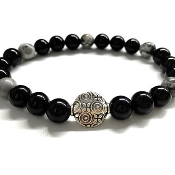 Men's Bead Bracelet. Men's Stone Jewelry. Stretch Bracelet. Black Onyx, Gray Jasper Stone Bracelet. Gemstone Jewelry. Gift for Him and Her