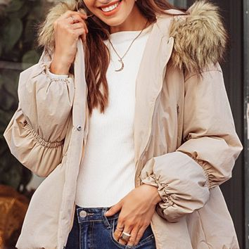 February Flirt Cream Long Puff Sleeve Faux Fur Hood Snap Padded Puffer Coat Outerwear