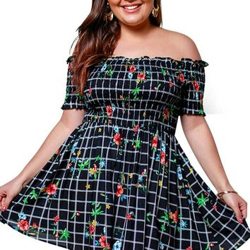 Playing Poppy's Over Checkered Off Shoulder Dress