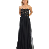 Black Lace Bodice Strapless Sweetheart Dress 2015 Prom Dresses