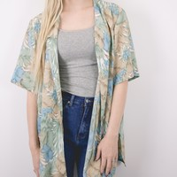 Vintage Hawaiian Oversized Button Up Blouse