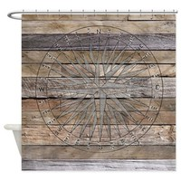 Rustic Nautical Compass Rose Wood Shower Curtain> Coastal, Vintage and Modern Rustic Shower Curtains> Rebecca Korpita Coastal Design