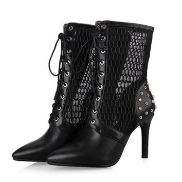 Women's Ankle Boots Pointed Toe High Thin Heel Rivet Shoes Lace-Up Ladies Pumps
