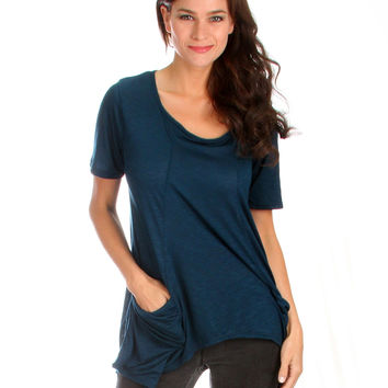 TEAL TAKE IT BREEZY SCOOP NECK TUNIC TOP WITH POCKETS