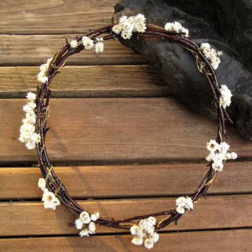 White Everlasting Floral Crown - Pearly Everlasting Head Wreath -  Pearly Everlasting & Birch