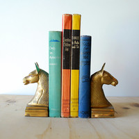 Vintage Brass Horse Bookend Pair Equestrian Mid Century Modern Decor
