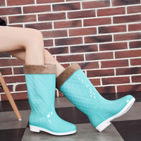 New Fashion Women's Candy Color Knee-high Rain Boots Cotton or Fabric Low Heel Rubber Boots for Lady Water Shoes = 1958537668