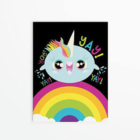 8x10 11x14 16x20 Wall Art Funny Humor Kawaii Cute Unique Cheerful Unicorn Excited Happy Yay Hooray Hyper Whale Rainbow Colorful Original