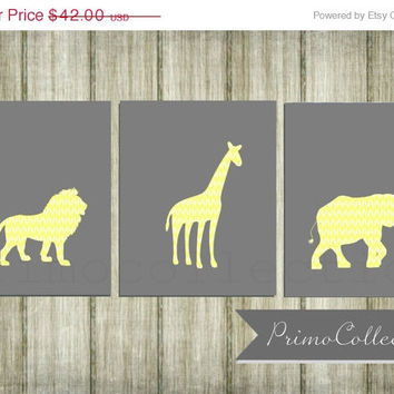 Nursery Wall Art Prints / set of 3 / safari animals / elephant / 8x10 inch / yellow and gray / baby boy / boy's room decor