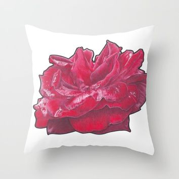 Red Rose 2 Throw Pillow by drawingsbylam