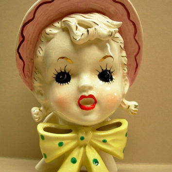 Relpo Glamour Girl Retro Painted Polka Dot Yellow Bow Woman Floral Pot Head Vase