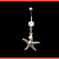 Star Fish Belly Ring with Pearl Accent