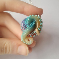 Aqua rainbow Tentacle necklace, octopus pendant, animal totem, octopus necklace, aqua necklace, rainbow jewelry, pastel goth jewelry
