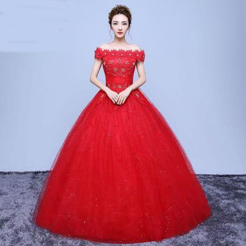Custom Made Red Romantic Lace Off The Shoulder Wedding Dress Bridal Gowns Flowers With Crystal