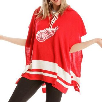 Detroit Red Wings NHL Stylish Knitted Cowl Hood Poncho (One Size Fits Most)