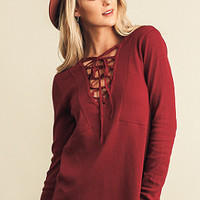 Striking Out Top - Burgundy