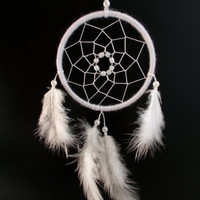 3 inches White Dreamcatcher - Car Rear View Mirror Decor - Hippie Boho Dream Catcher - Car Accessory - Wall Hanging Nursery Room Decoration