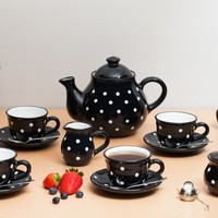 Black And White Polka Dot Spotty Handmade Hand Painted Ceramic Large Teapot Milk Jug Sugar Bowl Set With 4 Cups and Saucers