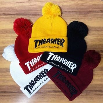 PEAPDQ7 Winter Unisex Fluffy Thrasher Embroidery Knit Beanies Hat