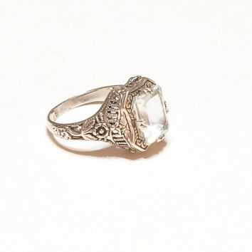 Lovely Art Deco Style Sterling Silver Ring, Natural Aquamarine Stone, Filigree, Flowers