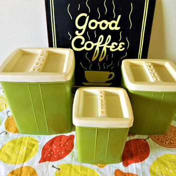 3 Vintage Green Plastic Canisters,  70's Avocado Green Canister Set,  Groovy Canister Set