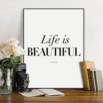 Modern Black White Nordic Beautiful Life Typography Quote A4 Art Print Poster Wall Picture Living Room Canvas Painting No Frame