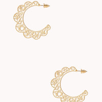 FOREVER 21 Antiqued Cutout Midsize Hoops