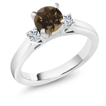 1.08 Ct Round Brown Smoky Quartz White Topaz 925 Sterling Silver 3-Stone Ring
