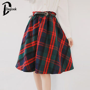 Daylook Women Scottish Plaid skirt Elastic Hight Waist Skater pleated Skirt  Knee Length Casual New Fashion  2 Color