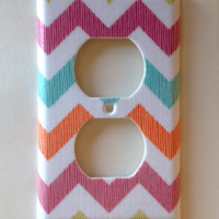Summer Chevron Stripes Outlet Plate