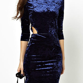 Blue Sleeve Cut Out Waist Bodycon Dress