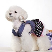 CheePet Spring Summer Pet Puppy Doggie Clothes Slim Jeans Flowers Skirt Dog T-Shirt Medium size,Excellent gift for dogs and dog lovers
