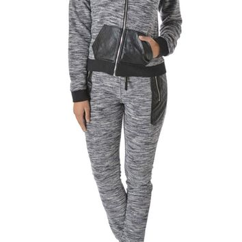 Women's Knit Melange Hoodie and Jogger Set AJS902 - H2E