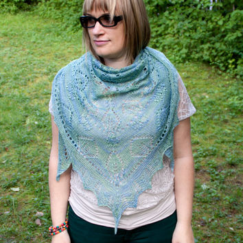 Hand knitted triangle lace shawl blue green silk wool. Haapsalu scarf with Falling Petals Pattern. Estonian lace