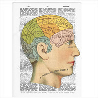 Vintage Dictionary Phrenology Dictionary Art Print