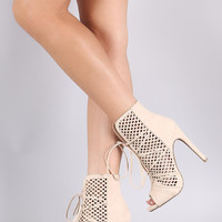 Wild Diva Lounge Perforated Suede Slit Lace-Up Booties