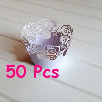 Lavender fancy curve Cupcake Wraps Stencil round wave wraps collars classic laser cut wrapper simple pattern wrapping wedding Cup Wrappers