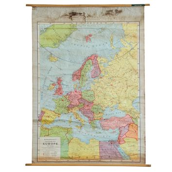 Antique Rand McNally Pull Down Map of Europe