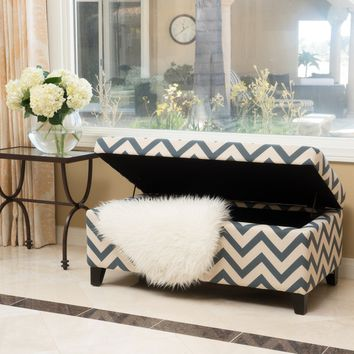 Breanna Chevron Fabric Storage Ottoman by Christopher Knight Home | Overstock.com Shopping - The Best Deals on Ottomans