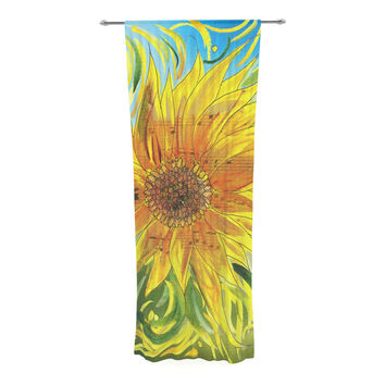 "Catherine Holcombe ""Sunflower Symphony"" Yellow Green Decorative Sheer Curtain"
