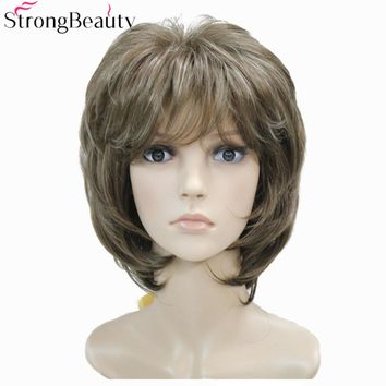 Strong Beauty Brown with Blonde Wigs Highlights Short Straight Hair Lady's Synthetic Wig