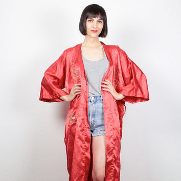 Vintage Kimono Jacket Pink Red Floral Embroidered Kimono Maxi Duster Jacket Belted Robe Asian Kimono Lingerie Bedroom Jacket M L XL