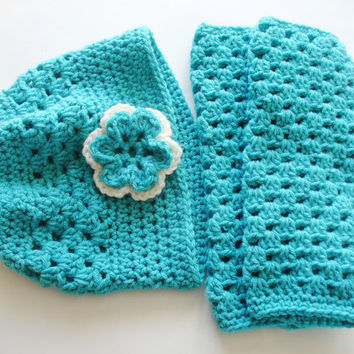 Aqua Crocheted Leg Warmers & Matching Hat