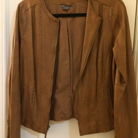 Vince Vintage Leather Zip Jacket
