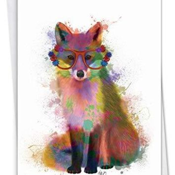 Funky Rainbow Wildlife: Birthday Card With a colorful, eyeglasses-wearing fox, Funny Birthday Card - Free Shipping