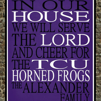 Customized Name TCU Horned Frogs NCAA Basketball personalized family print poster Christian gift sports wall art - multiple sizes