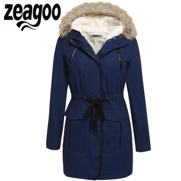 Zeagoo Casual Thick Coat Fur Collar Thick Hooded Jacket Adjustable Waist Warm Jacket Coat Women Winter Solid Fleece Parka XXL